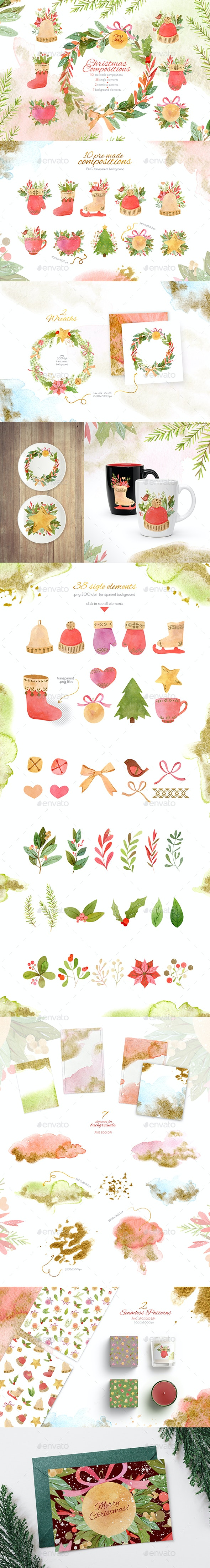 Watercolor Christmas Compositions Set - Illustrations Graphics