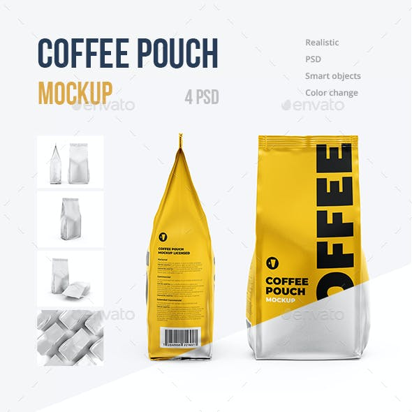 Coffee Pouch Mockup. SET 4 psd