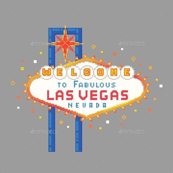 Pixel Art Las Vegas Sign