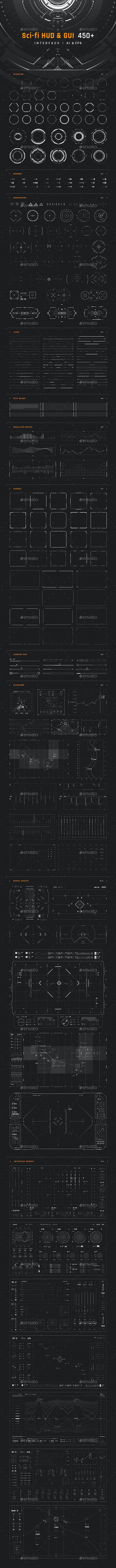 Sci-fi HUD & GUI Interface - Decorative Symbols Decorative