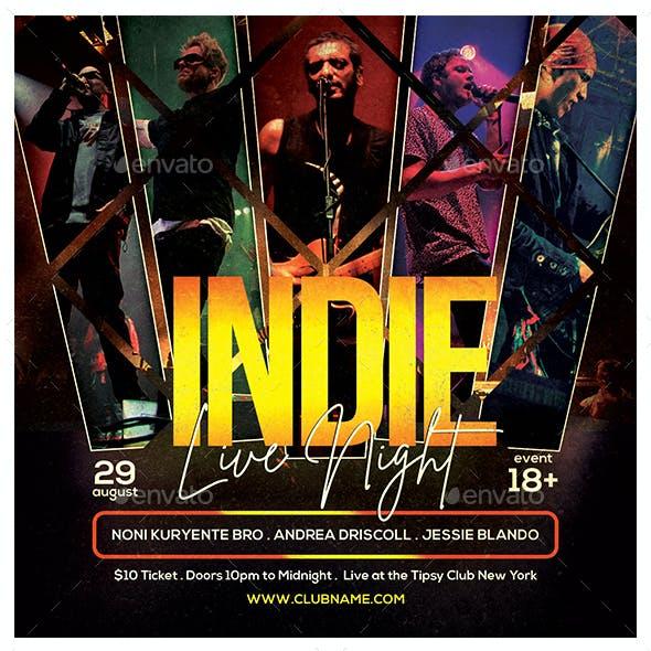 Indie Live Night Flyer