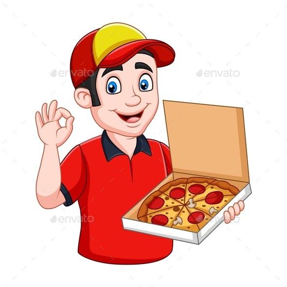 Cartoon Pizza Deliveryman