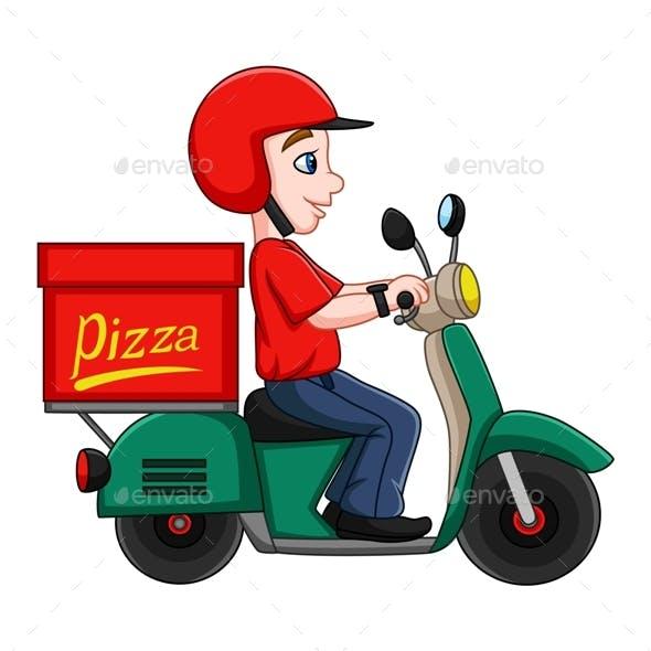 Cartoon Pizza Delivery Man