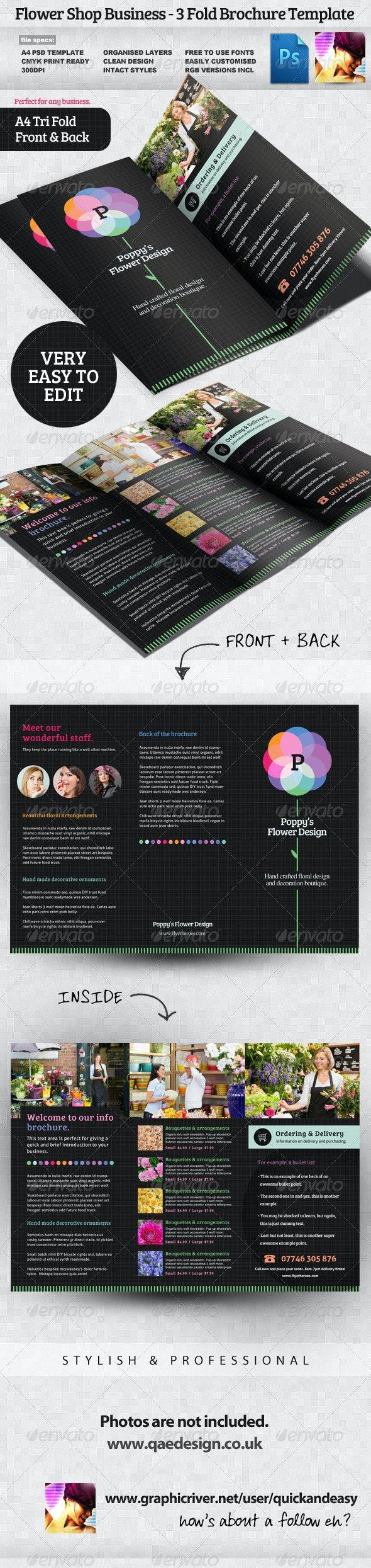 Flower Shop 3 Fold Brochure - Informational Brochures