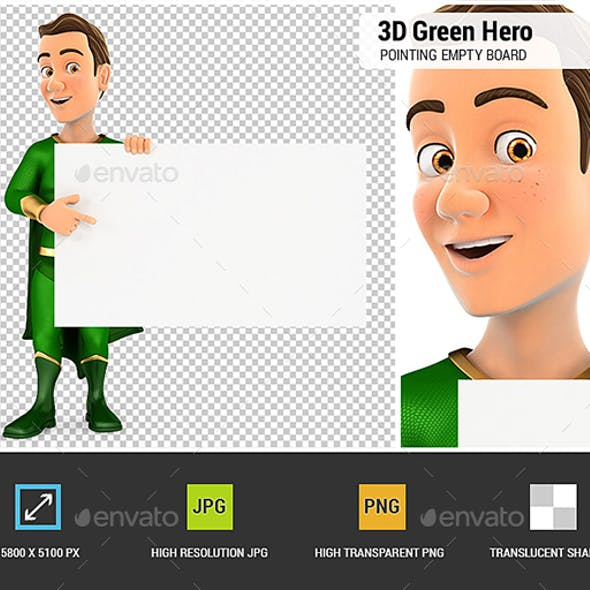 3D Green Hero Pointing Empty Board