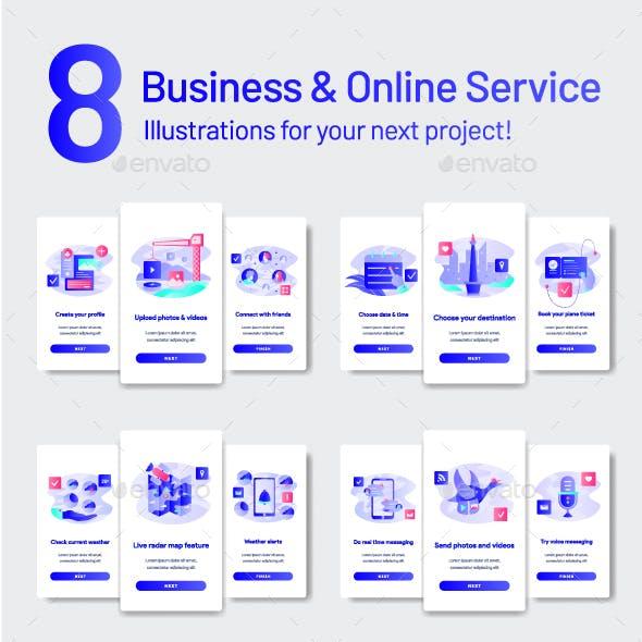 8 Business & Online Service Illustration Set
