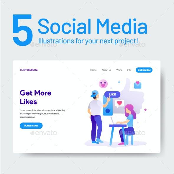 5 Social Media Illustration