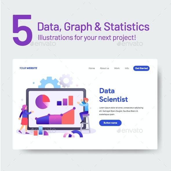 5 Data Graph & Statistics Illustrations