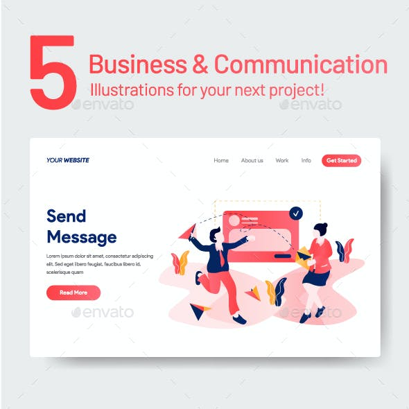5 Business and Communication Illustrations