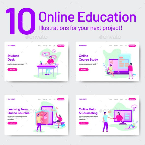 10 Online Education Illustrations