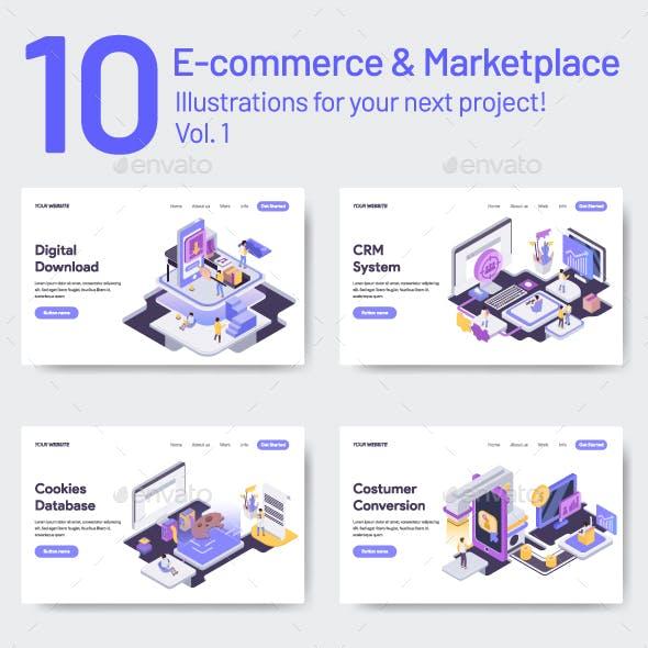 10 E-Commerce & Marketplace Illustrations Vol 1