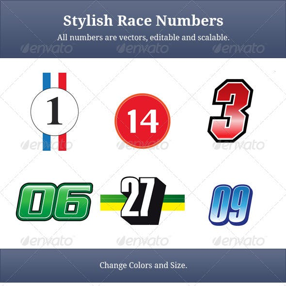 18 Stylish Vector Race Numbers