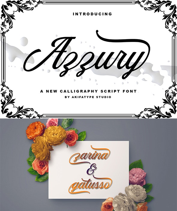 Azzury Script - Script Fonts