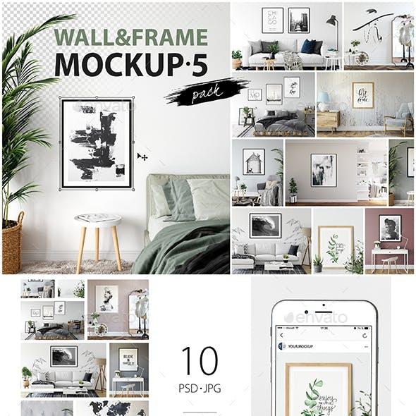 Frames & Walls Mockup Pack - 5