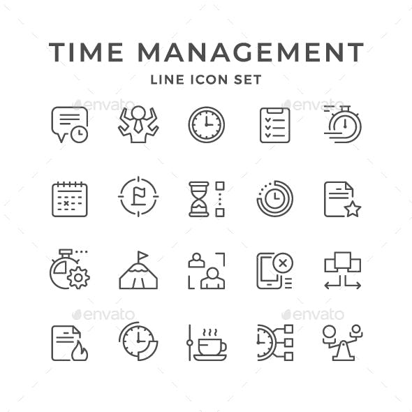 Set Line Icons of Time Management