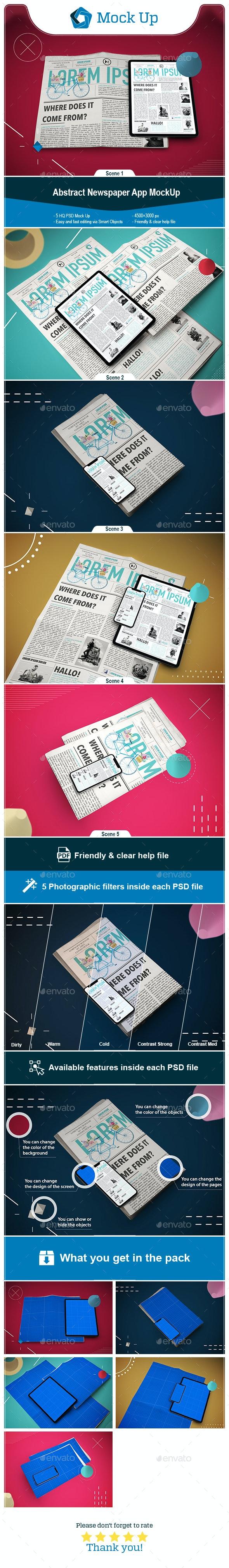 Abstract Newspaper App MockUp - Mobile Displays