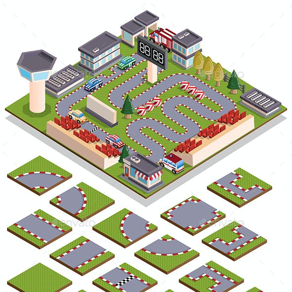 Set of Elements for Creating Car Racing Isometric