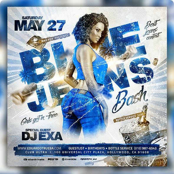Blue Jeans Bash Party Flyer