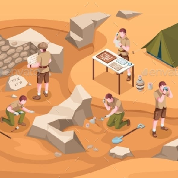 Archeology Isometric Sign or Archeologist at Work