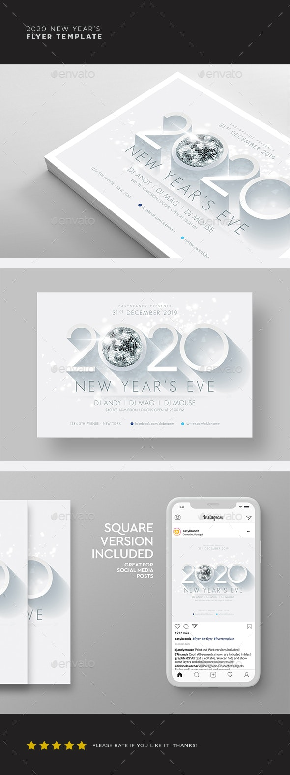 2020 New Year's Flyer Template - Holidays Events