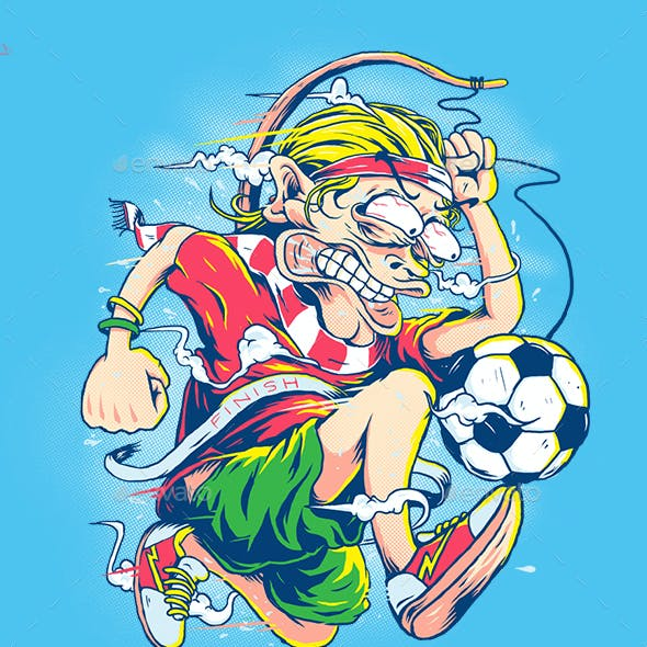 Crazy Footballers Illustrations