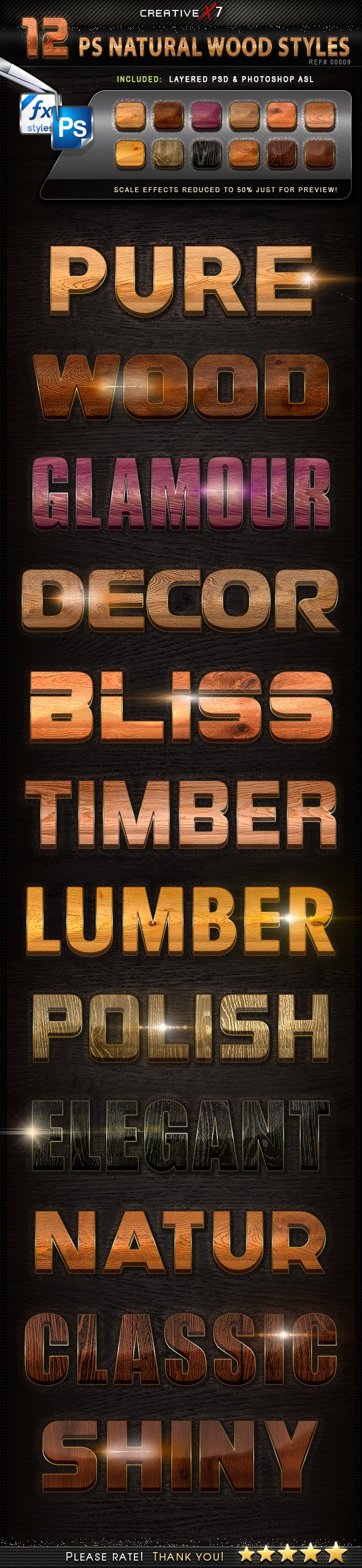 CreativeX7 - 12 Photoshop Natural Wood Styles - Text Effects Styles