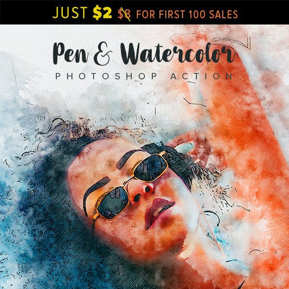 Pen & Watercolor Photoshop Action
