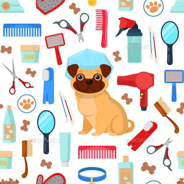 Pattern with Grooming Tools and Dog