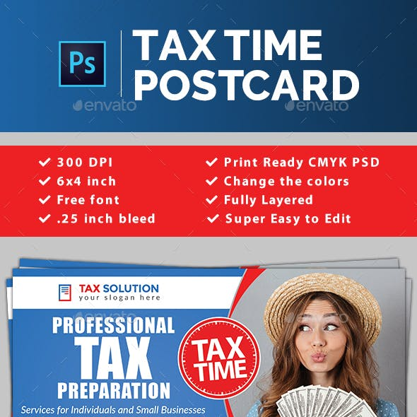 Tax Time Postcard Template