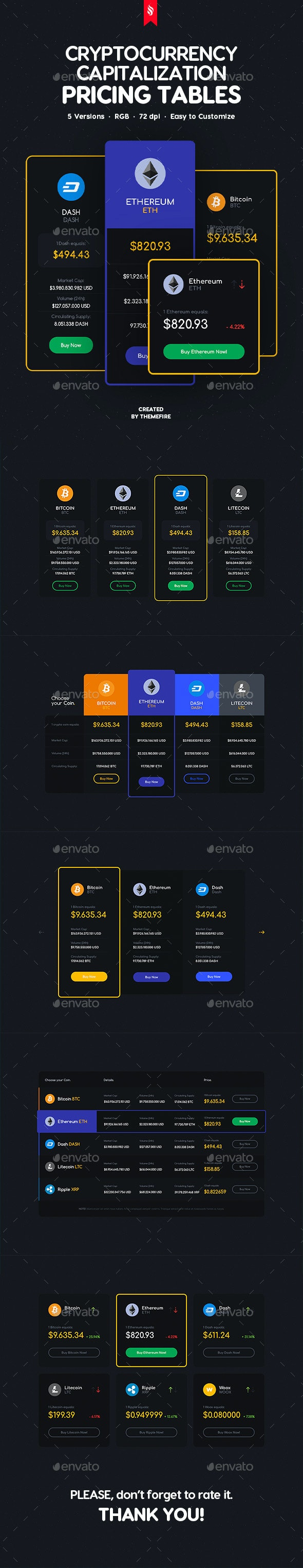 Cryptocurrency Market Capitalizations Pricing Tables - Tables Web Elements