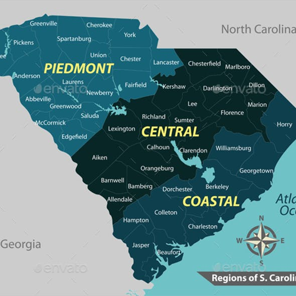 Map of State South Carolina USA