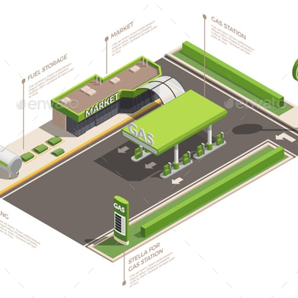 Gas Station Isometric Infographics