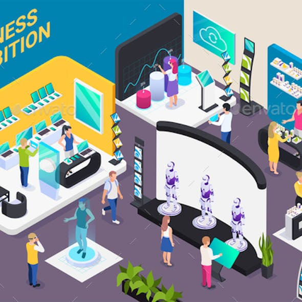 Business Exhibition Isometric Composition