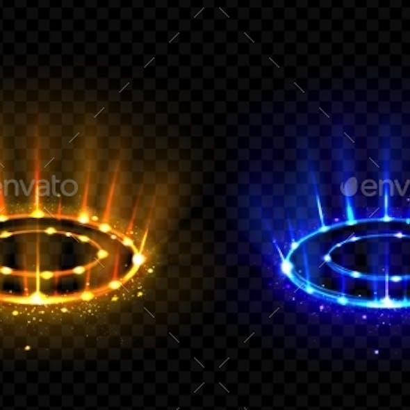 Neon Versus Round Rays. Hologram Effect Vs Circles