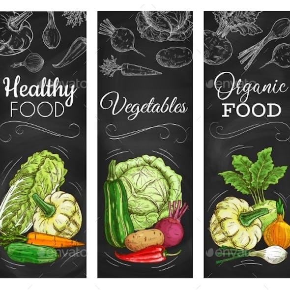Cabbage, Carrot, Pepper Vegetable on Blackboard