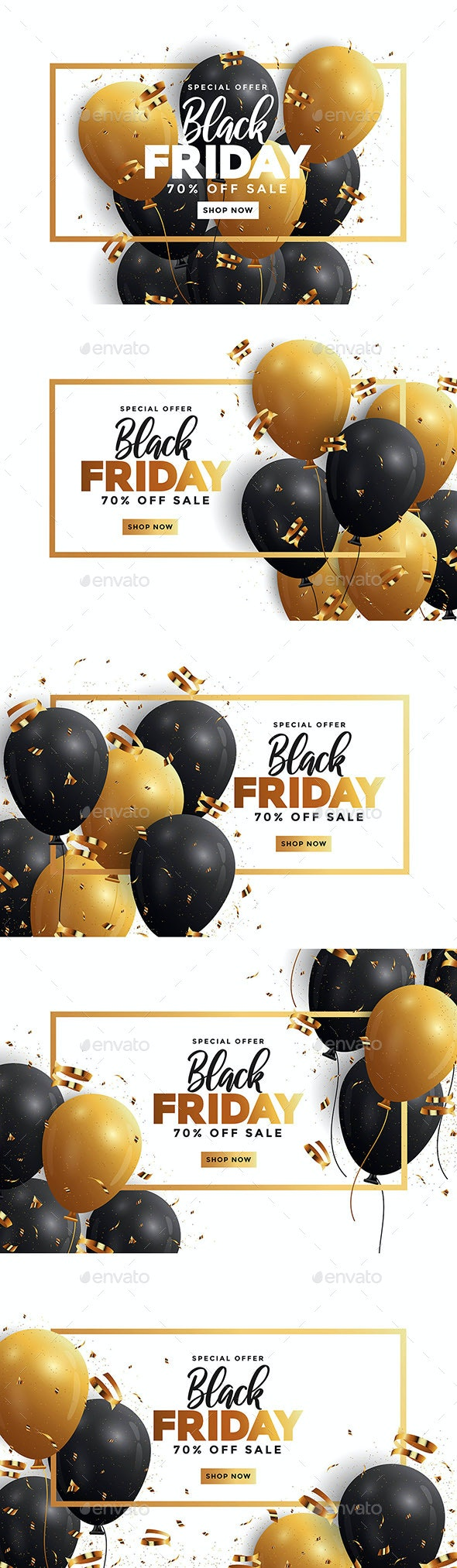 Black Friday Sale Banner with Balloons - Retail Commercial / Shopping