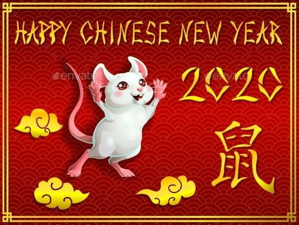 Card Mouse on Red and Gold - Animals Characters