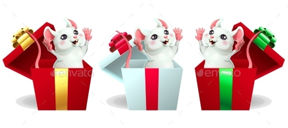 Set Cheerful White and Pink Mouse in Box - Animals Characters