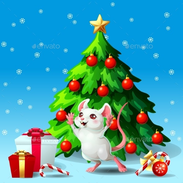 Mouse Ang Fir Tree on Blue - New Year Seasons/Holidays