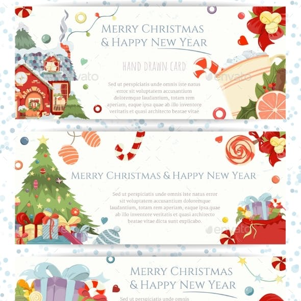 Christmas and Happy New Year Hand Drawn Flyers Set