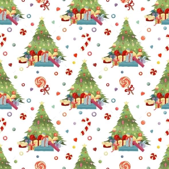 Merry Christmas Happy New Year Hand Drawn Pattern - Christmas Seasons/Holidays