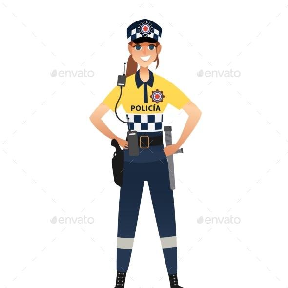 Police Woman Wearing Patrol Summer Uniform