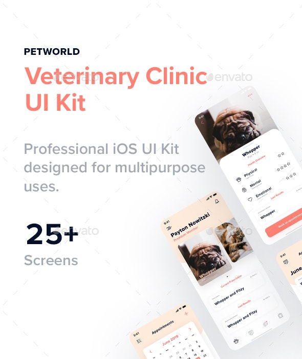 Petworld Veterinary Clinic Multipurpose UI Kit for Adobe XD - User Interfaces Web Elements