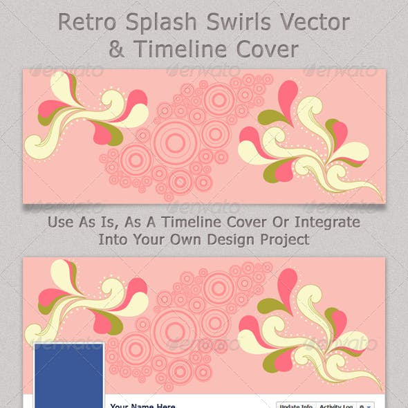 Retro Splash Swirls Vector & Timeline Cover
