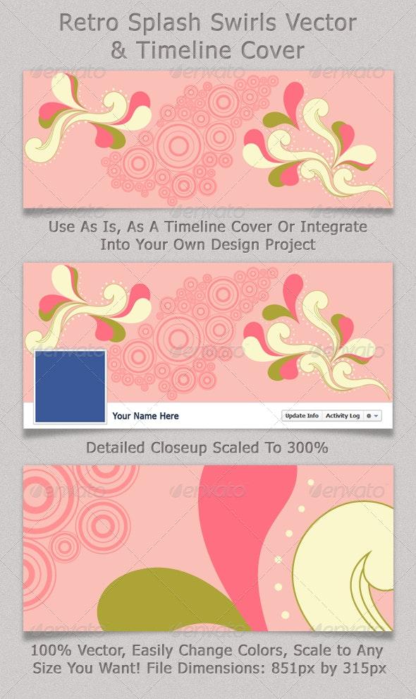 Retro Splash Swirls Vector & Timeline Cover - Facebook Timeline Covers Social Media