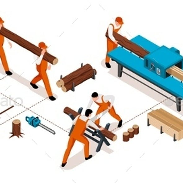 Isometric Woodworking Horizontal Infographics