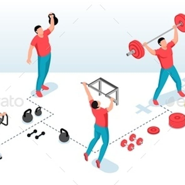 Isometric Fitness Transformation Infographics