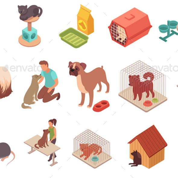 Pet Animals Isometric Icons