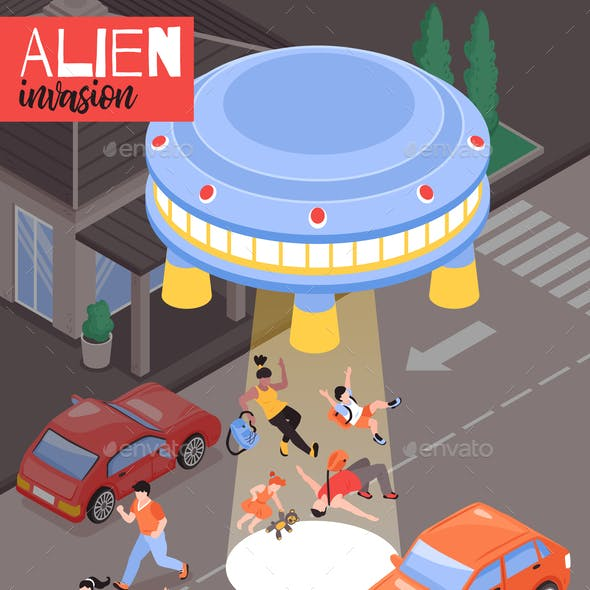 Alien Invasion Isometric Illustration
