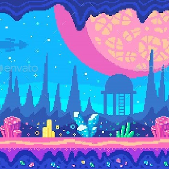 Crystals Area on Alien Planet Pixel Art Game Location.